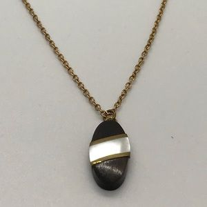 VTG Ebony Wood Mother of Pearl Necklace